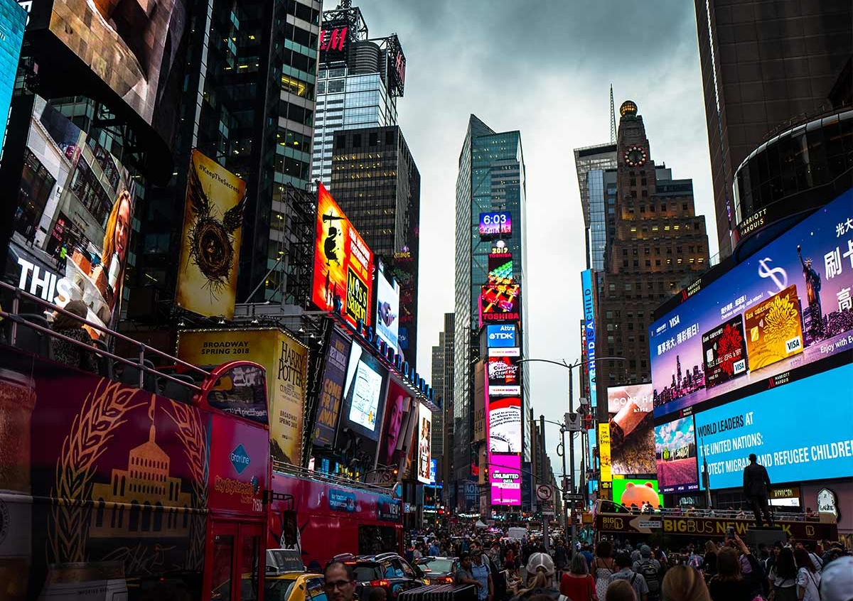 Times Square New York es wird dunkel